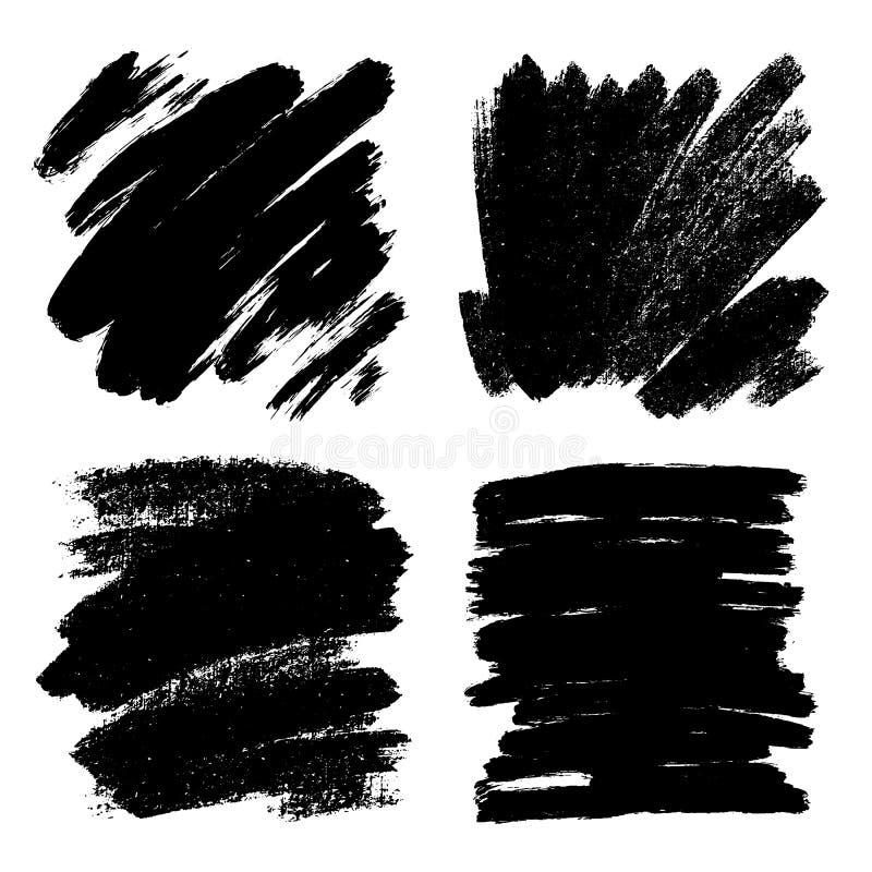 Vectorreeks hand getrokken borstelslagen, vlekken voor achtergronden Zwart-wit geplaatste ontwerpelementen Één zwart-wit kleur stock illustratie