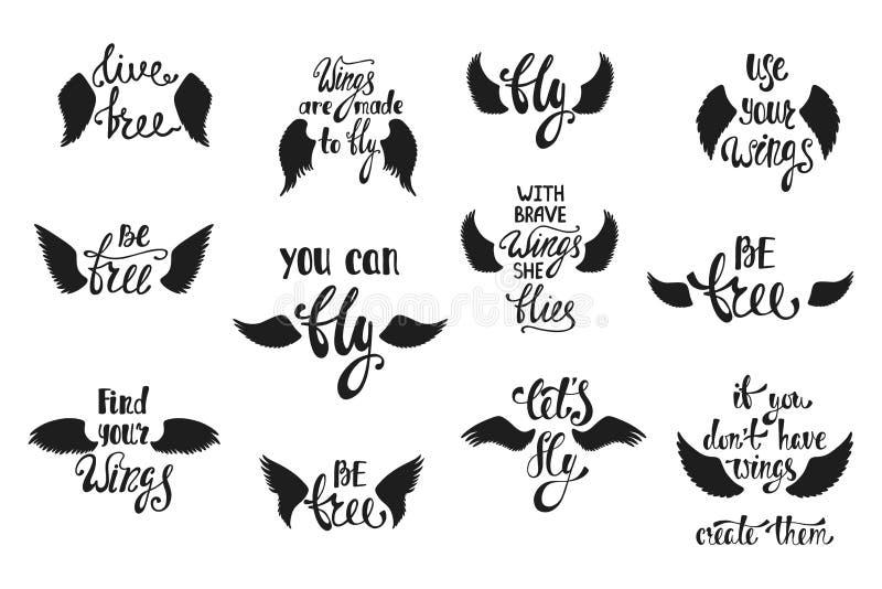 Vectorreeks hand getrokken kalligrafieuitdrukkingen met engelenvleugels r vector illustratie