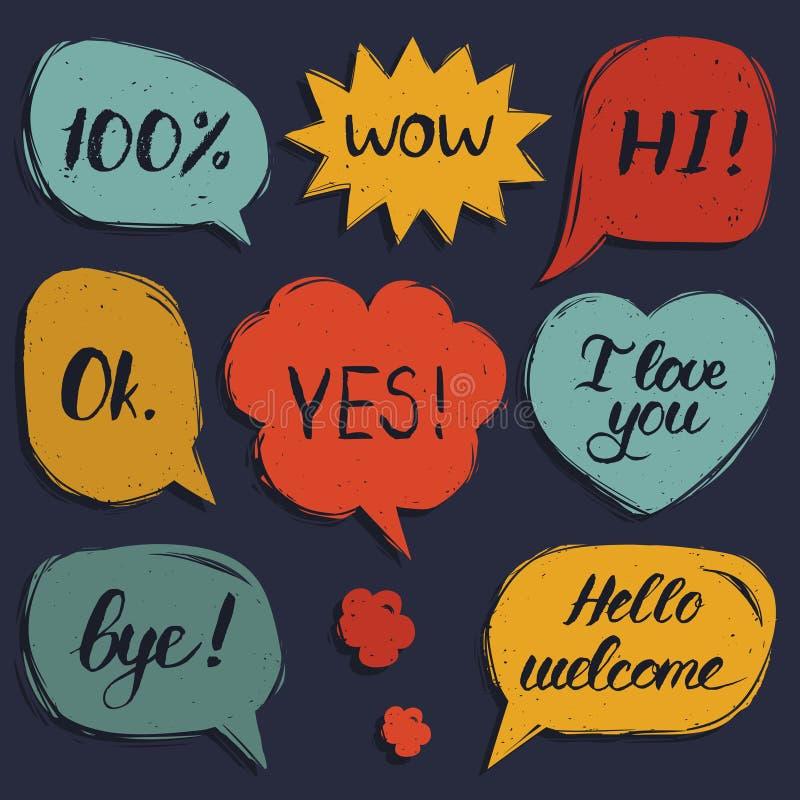 Vectorreeks hand getrokken kleurrijke grappige toespraakbellen met uitdrukkingen hallo, Hello, houd ik van u, ja, wauw, tot ziens vector illustratie