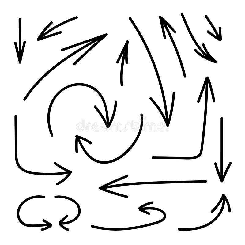 Vectorreeks Hand Getrokken Pijlen, Zwarte die Lijnen op Witte Achtergrond, Elementeninzameling worden geïsoleerd royalty-vrije illustratie