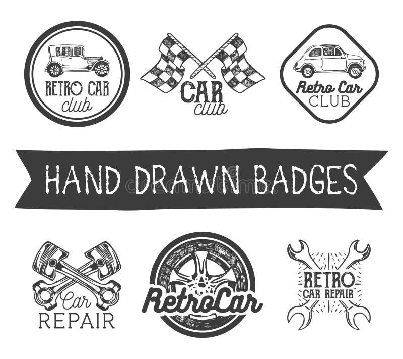 Vectorreeks hand getrokken retro autoetiketten in uitstekende stijl De autoelementen, de emblemen, de kentekens, het embleem en d vector illustratie
