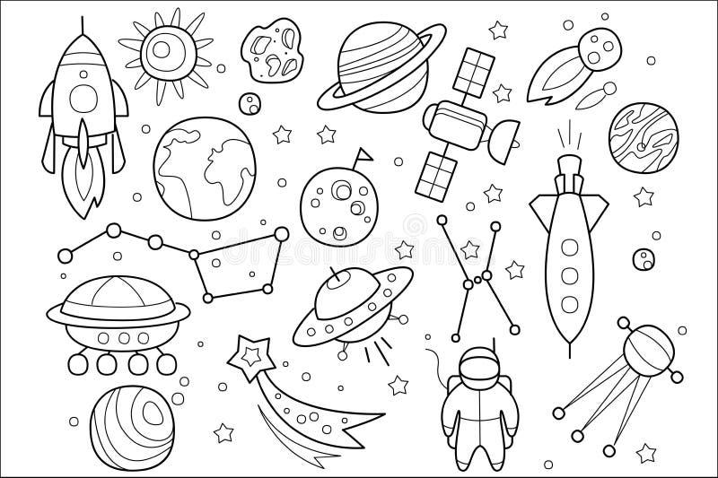 Vectorreeks hand getrokken ruimtevoorwerpen De UFO van vreemdelingen, ruimteschip, raket, astronaut, kosmische satelliet, speelt  royalty-vrije illustratie