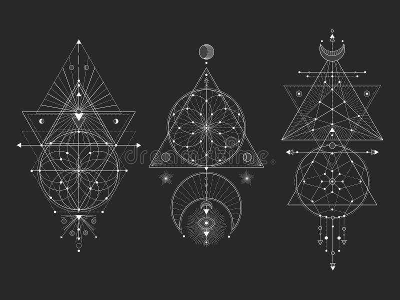 Vectorreeks Heilige geometrische symbolen met maan, oog, pijlen, dreamcatcher en cijfers aangaande zwarte achtergrond Witte abstr stock illustratie