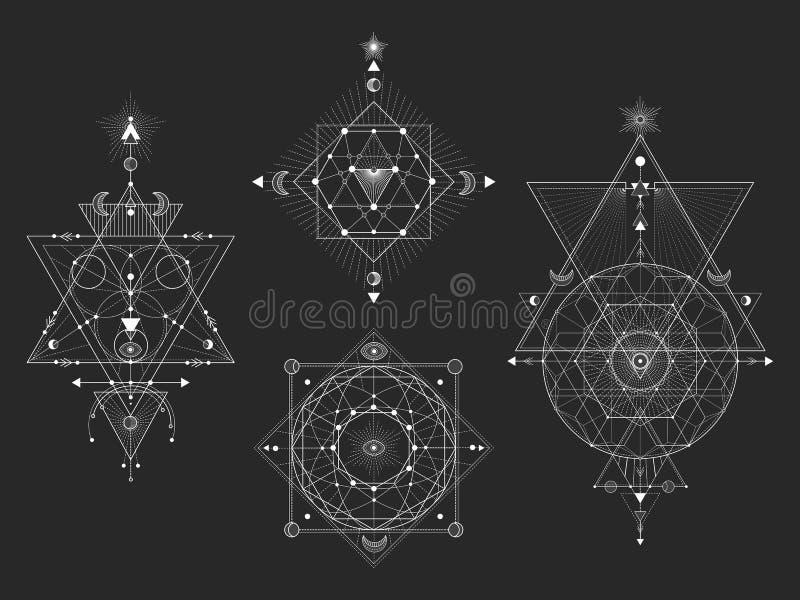 Vectorreeks Heilige geometrische symbolen met maan, oog, pijlen, dreamcatcher en cijfers aangaande zwarte achtergrond Witte abstr vector illustratie