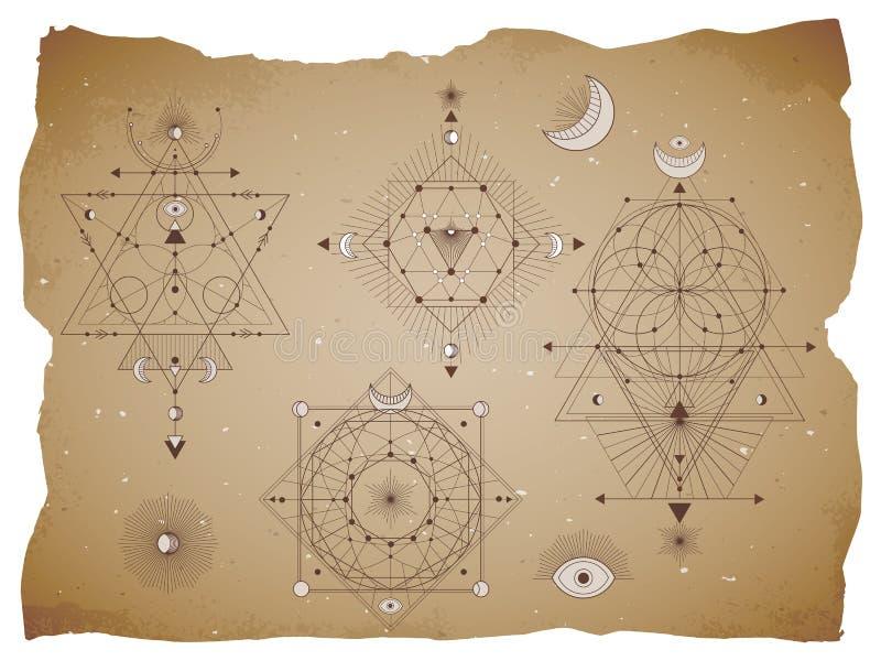 Vectorreeks Heilige geometrische symbolen met maan, oog, pijlen en cijfers aangaande oude document achtergrond met gescheurde ran stock illustratie