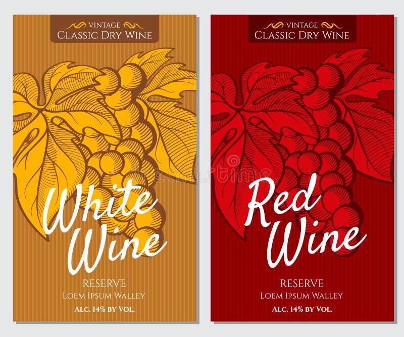 Vectorreeks heldere etiketten voor witte en rode wijn stock fotografie