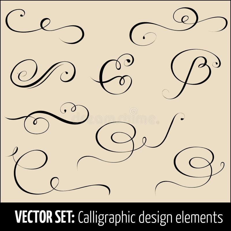 Vectorreeks het ontwerpelementen van de kalligrafische en paginadecoratie Elegante elementen voor uw ontwerp stock illustratie