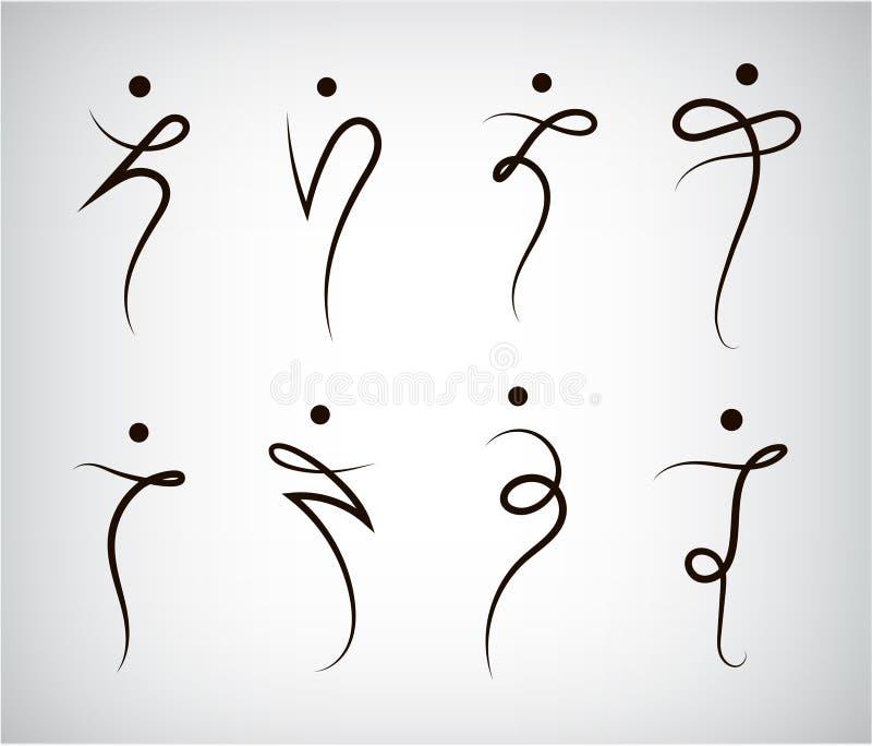 Vectorreeks het silhouetemblemen van de cijferlijn, mens, mensen, sport en dansende tekens royalty-vrije illustratie