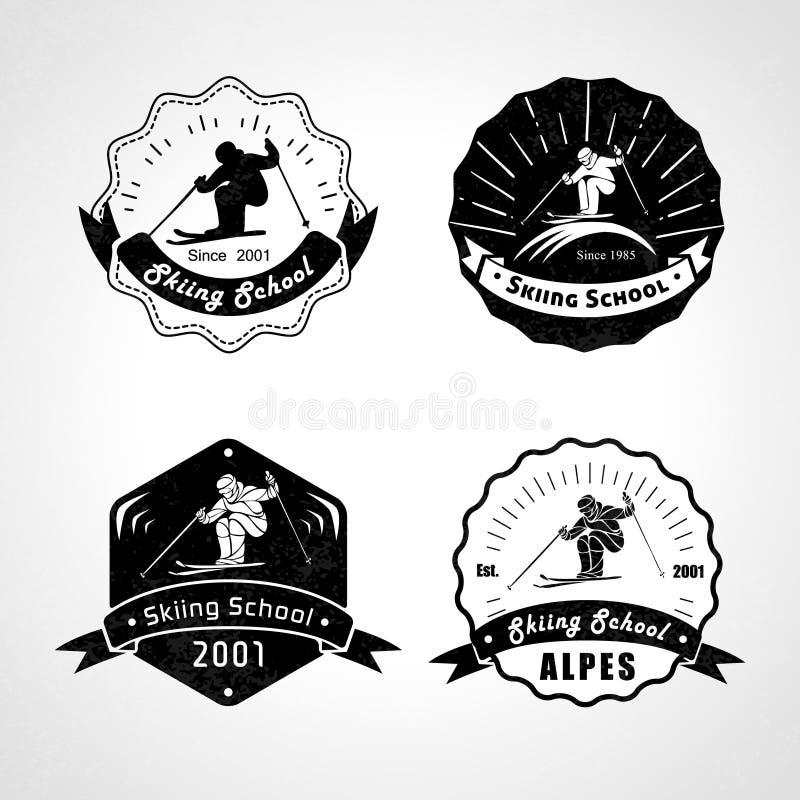 Vectorreeks het ski?en emblemen, emblemen en ontwerpelementen stock illustratie
