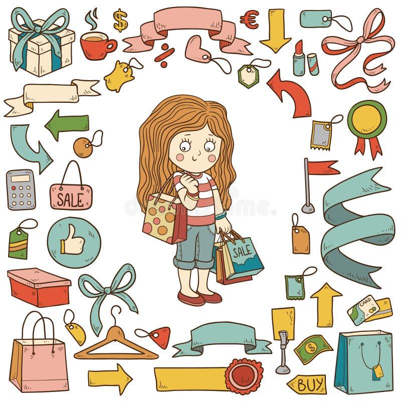 Vectorreeks het winkelen punten, meisje met het winkelen zakken vector illustratie