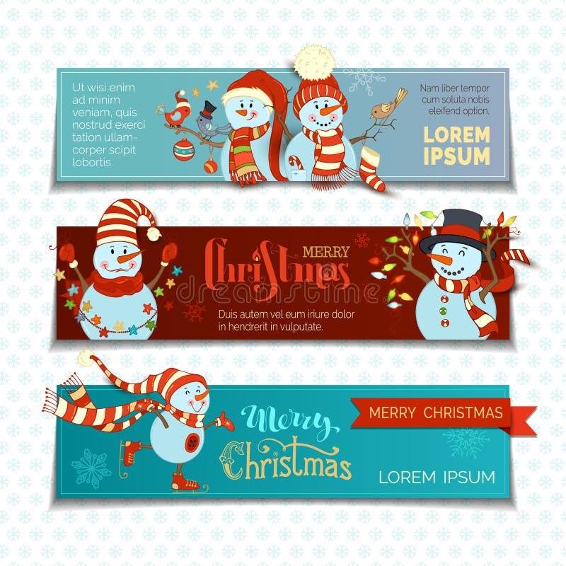 Vectorreeks horizontale Kerstmisbanners met leuke sneeuwmannen vector illustratie