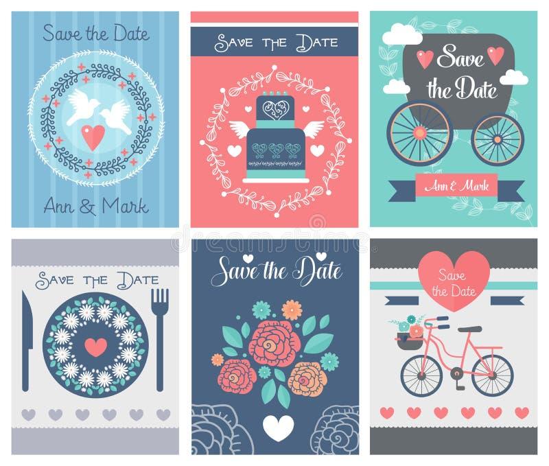Vectorreeks huwelijksornamenten en decoratieve elementen, uitstekende banner, malplaatje, etiket, kenteken stock illustratie