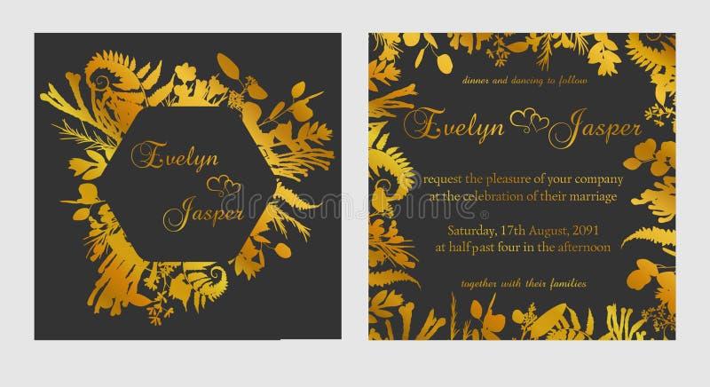 Vectorreeks huwelijksuitnodigingen Op een donkere zwarte grijze achtergrond met gouden lijnen, strepen, gidsen In een decoratief  vector illustratie