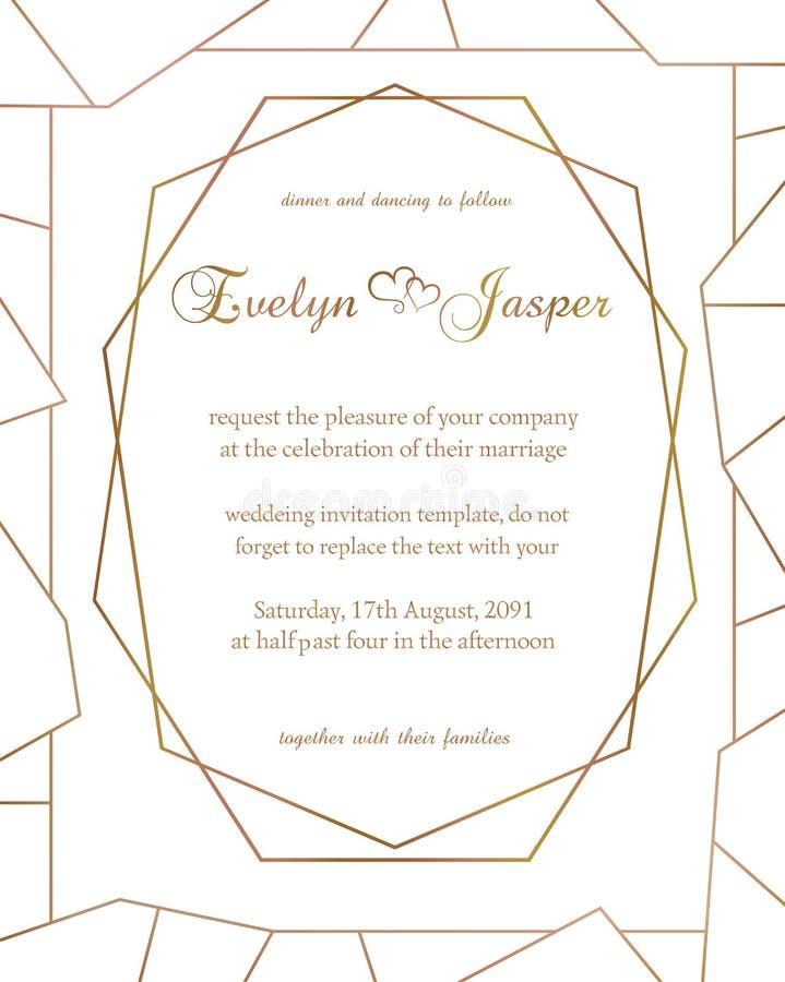 Vectorreeks huwelijksuitnodigingen Op een witte grijze achtergrond met gouden lijnen, strepen, gidsen In een decoratief geometris royalty-vrije illustratie