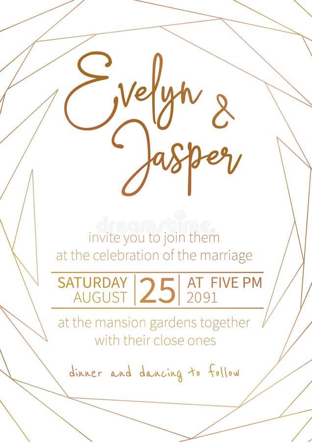 Vectorreeks huwelijksuitnodigingen Op een witte grijze achtergrond met gouden lijnen, strepen, gidsen In een decoratief verticaal vector illustratie