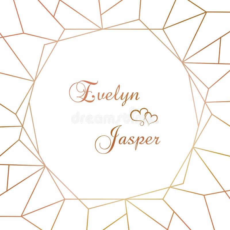 Vectorreeks huwelijksuitnodigingen Op een witte grijze achtergrond met gouden lijnen, strepen, gidsen In een decoratief vierkant  royalty-vrije illustratie