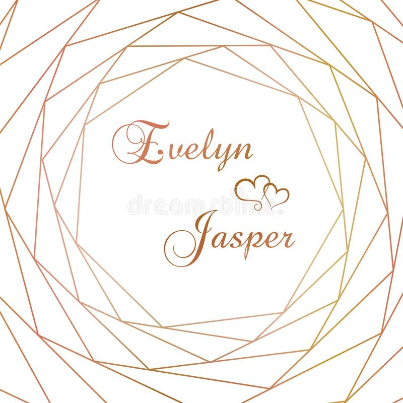 Vectorreeks huwelijksuitnodigingen Op een witte grijze achtergrond met gouden lijnen, strepen, gidsen In een decoratief vierkant  stock illustratie