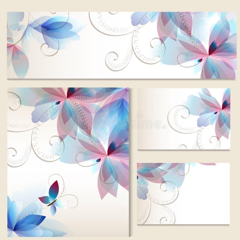 Vectorreeks identiteitsmalplaatjes met kleurrijke BLOEMEN vector illustratie