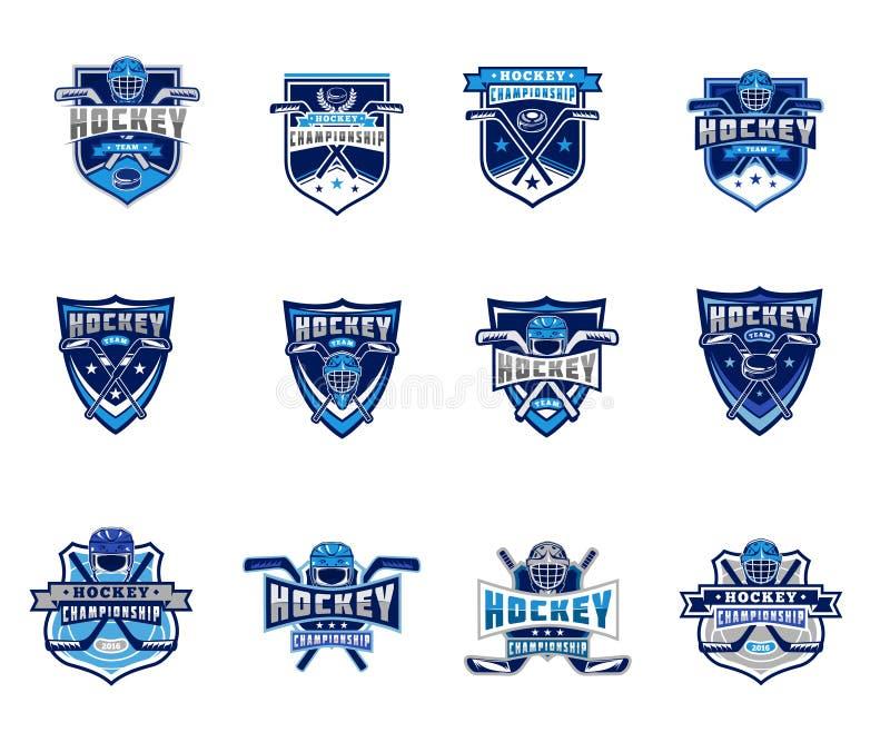 Vectorreeks ijshockeykentekens, stickers, emblemen stock illustratie