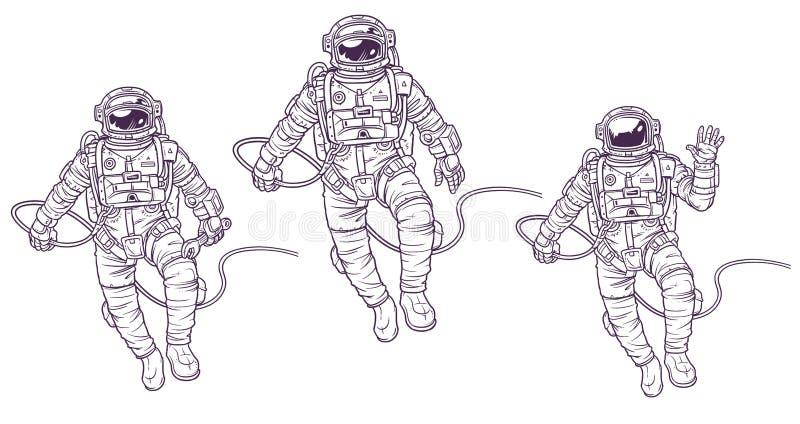 Vectorreeks illustratieskosmonauten royalty-vrije illustratie