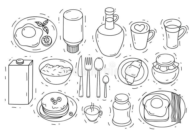 Vectorreeks ingrediënten voor ontbijt vector illustratie