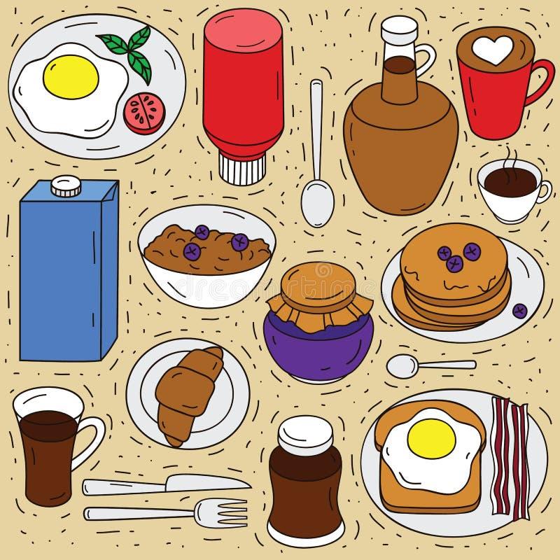 Vectorreeks ingrediënten voor ontbijt royalty-vrije illustratie