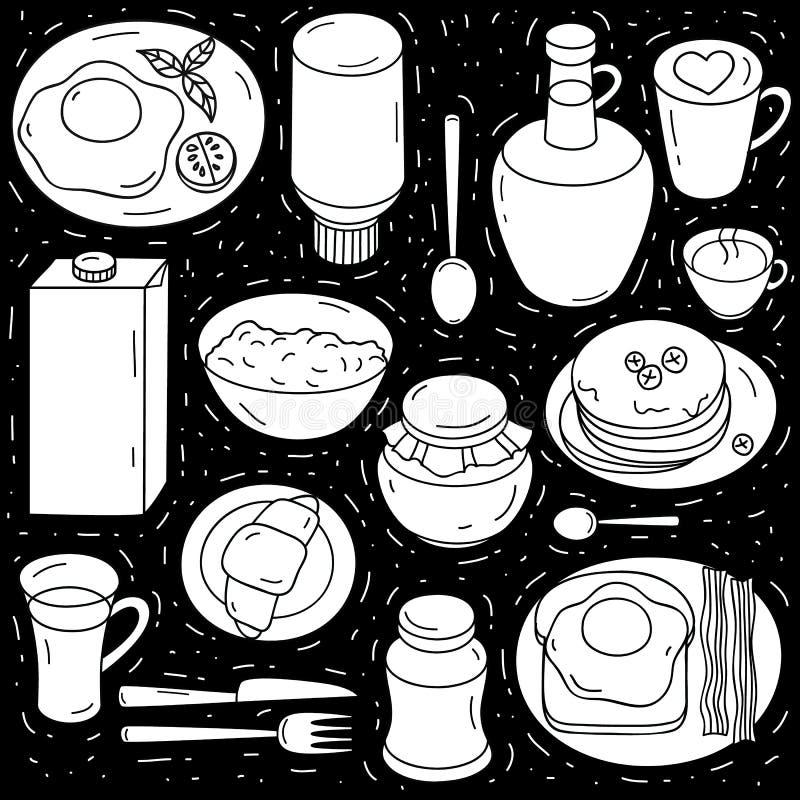 Vectorreeks ingrediënten voor ontbijt op zwarte achtergrond vector illustratie