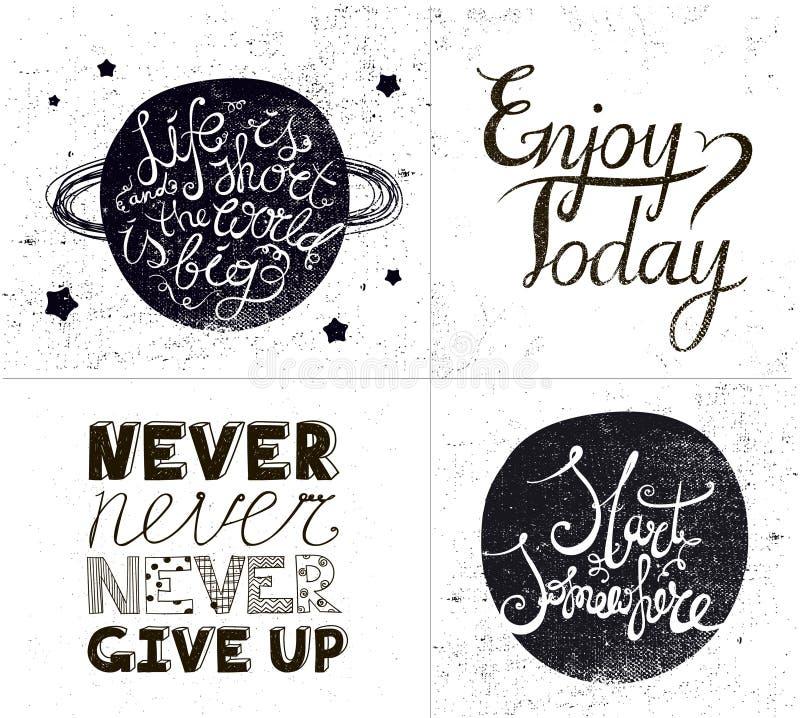 Vectorreeks inspirational citaten, getrokken hand, het geweven zeggen vector illustratie