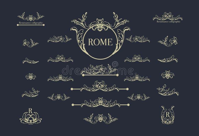 Vectorreeks Italiaanse kalligrafische ontwerpelementen voor paginadecor, verdelers en overladen hoofddeksels, uitstekend onderstr stock illustratie