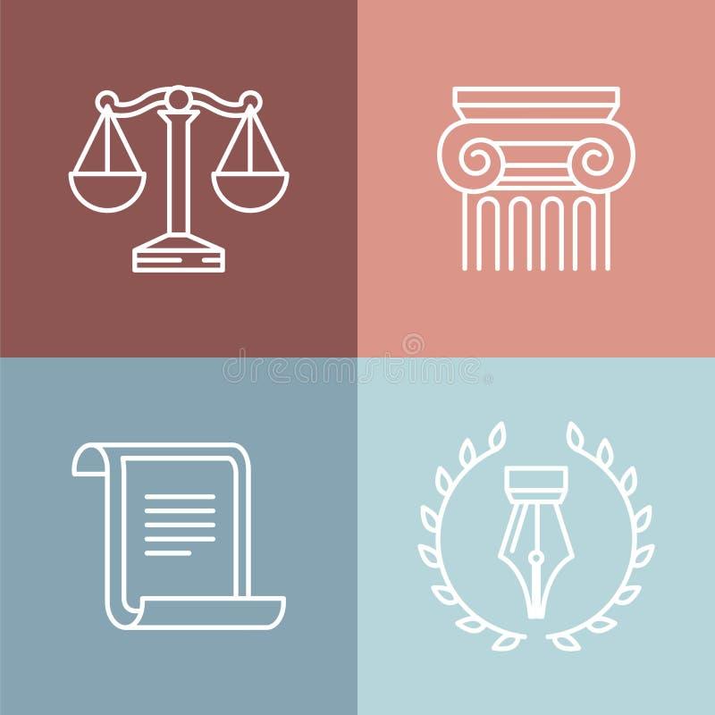 Vectorreeks juridische en wettelijke emblemen vector illustratie