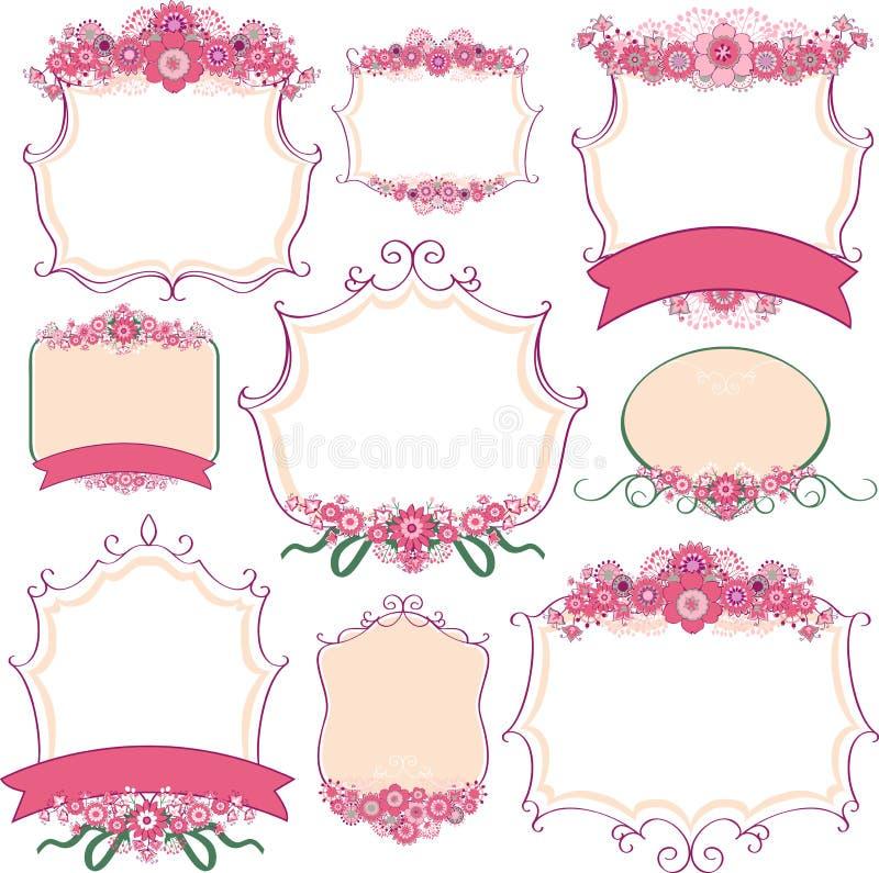 Vectorreeks kaders met bloemen stock illustratie