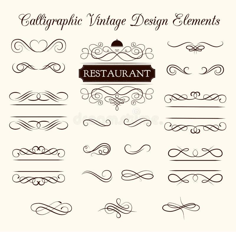 Vectorreeks kalligrafische ontwerpelementen en paginadecoratie Elegante inzameling van wervelingen stock illustratie