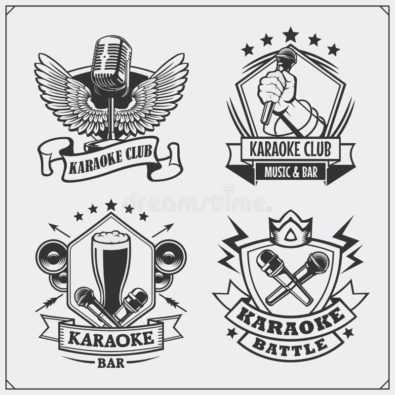 Vectorreeks karaoke uitstekende etiketten, kentekens en ontwerpelementen De emblemen van de karaokeclub royalty-vrije illustratie
