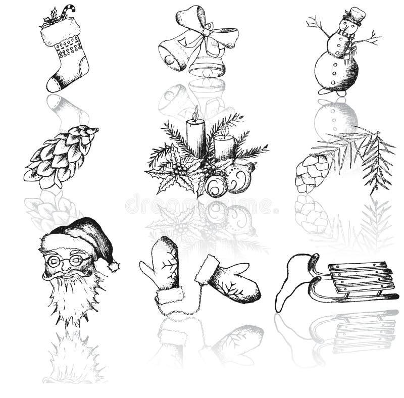 Vectorreeks Kerstmispictogrammen stock illustratie