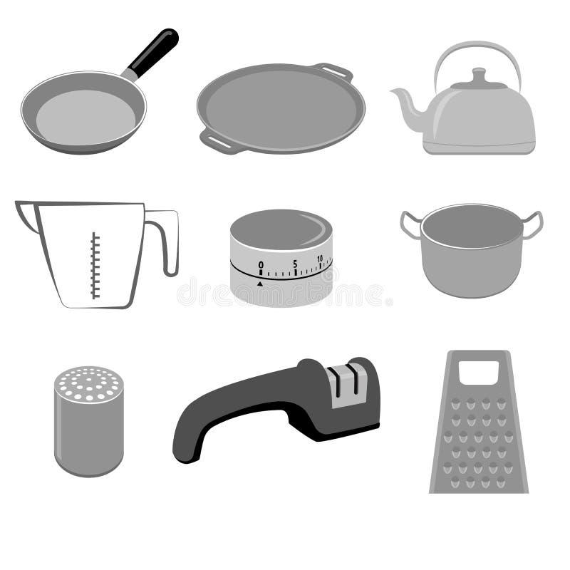 Vectorreeks keukengerei op witte achtergrond royalty-vrije illustratie