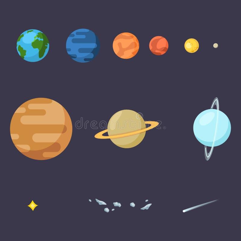 Vectorreeks Kleuren Vlakke Ruimtepictogrammen Zonnestelselsplaneten, Ster, Komeet en Asteroïden vector illustratie