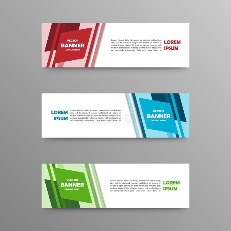 Vectorreeks kleurenbanners, abstract ontwerp royalty-vrije stock fotografie