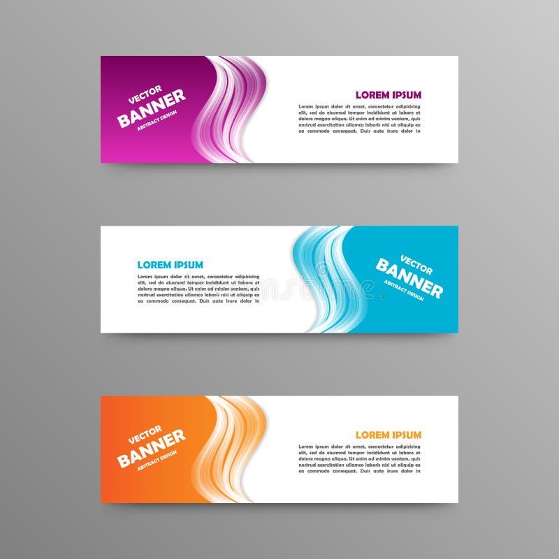 Vectorreeks kleurenbanners, abstract ontwerp stock fotografie