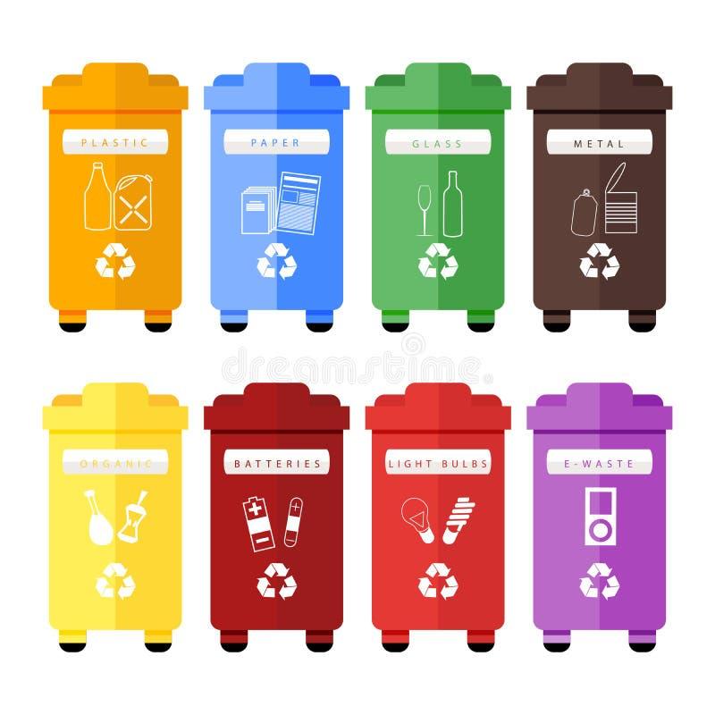 Vectorreeks kleurrijke afval sorterende bakken voor plastiek, document, glas, metaal, organisch, batterijen, gloeilampen en e-afv vector illustratie