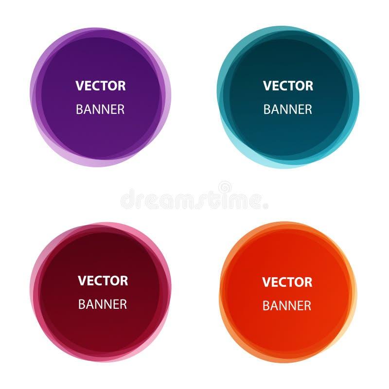 Vectorreeks kleurrijke ronde vorm abstracte banners royalty-vrije illustratie