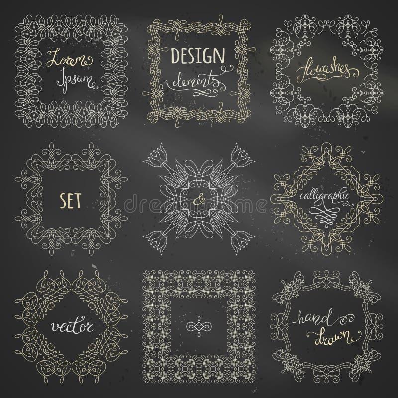 Vectorreeks krijt kalligrafische kaders royalty-vrije illustratie