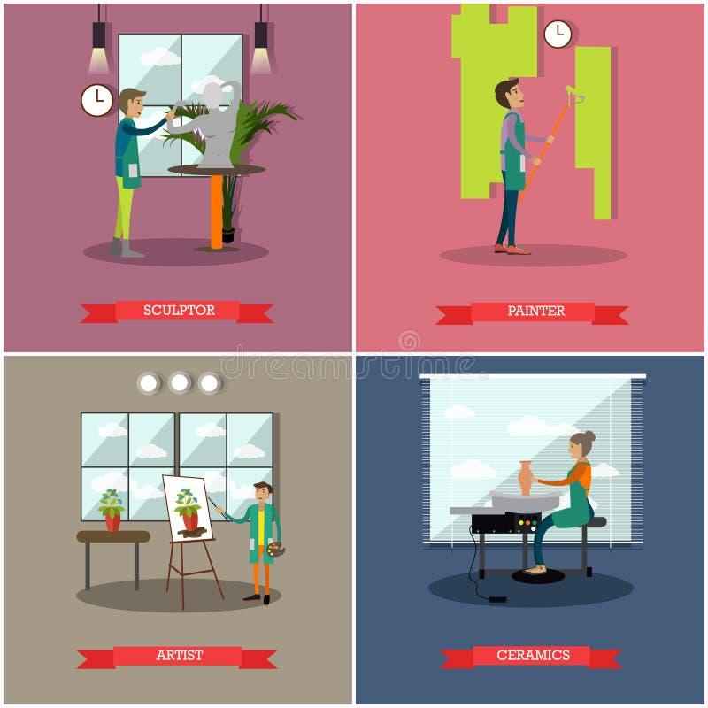 Vectorreeks kunsten en vlakke affiches van ambachtenberoeps stock illustratie