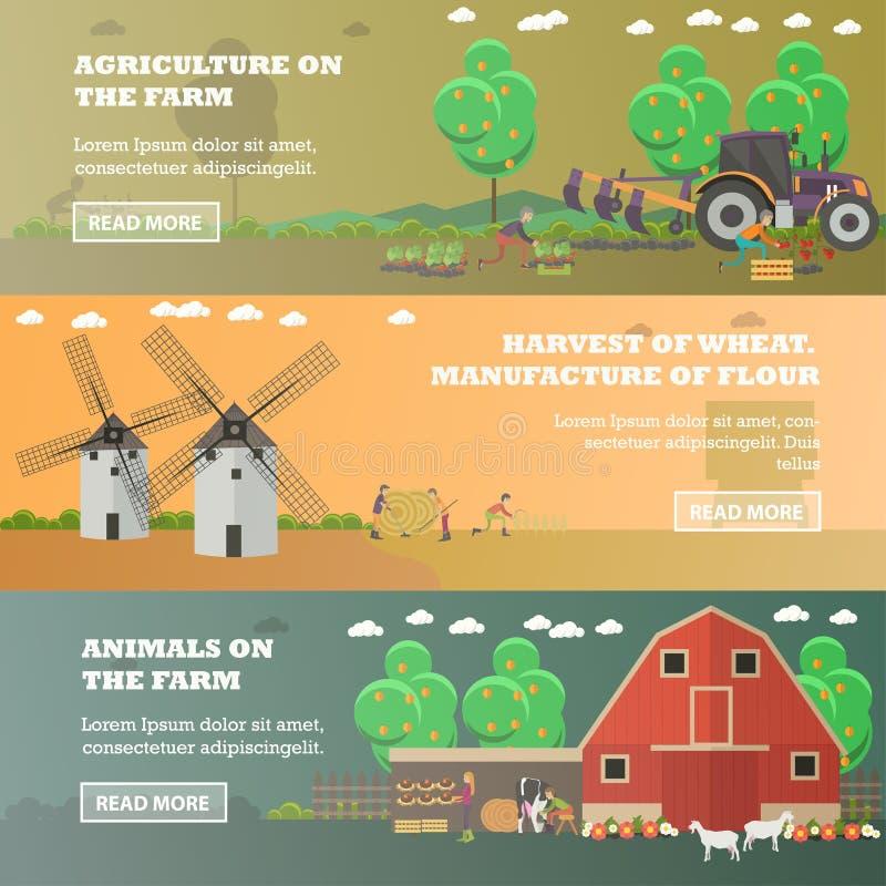 Vectorreeks landbouwbedrijf horizontale banners in vlakke stijl stock illustratie