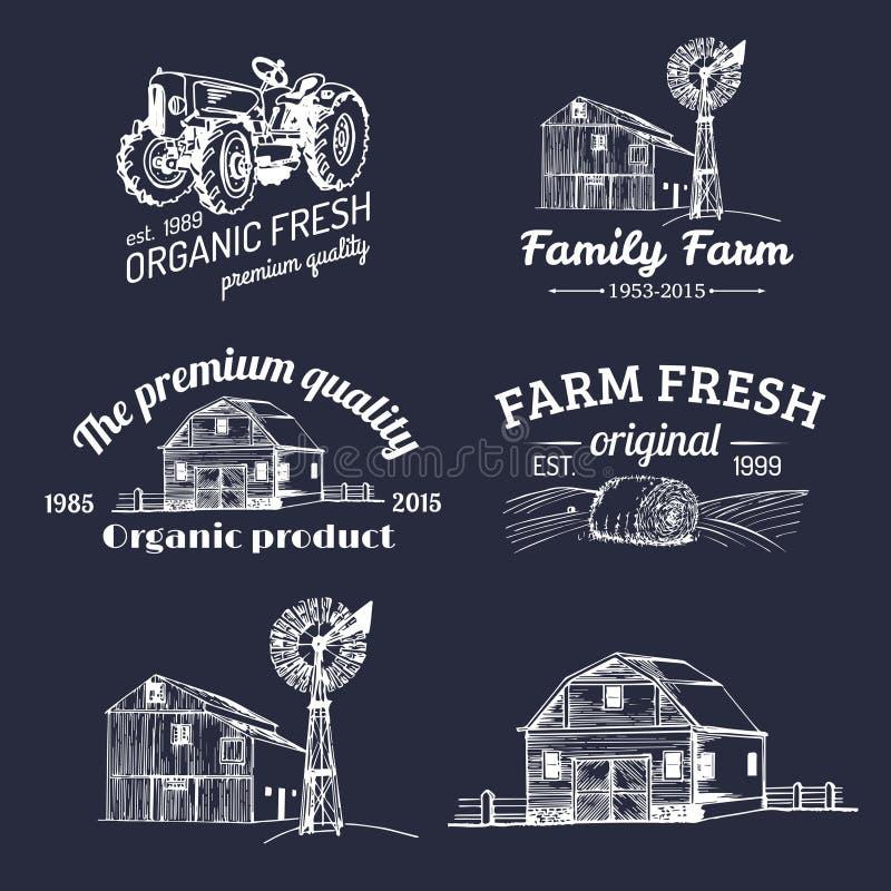 Vectorreeks landbouwbedrijf verse logotypes De bioinzameling van productenkentekens Uitstekende hand geschetste landbouwmachinepi vector illustratie
