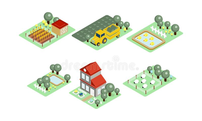 Vectorreeks landbouwbedrijfpictogrammen in moderne 3D stijl Gebieden met oogst, het weiden schapen, huis, werven met bomen en vij stock illustratie