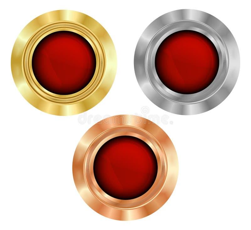 Vectorreeks lege ronde medailles van goud, zilver, en bronsverstand royalty-vrije illustratie