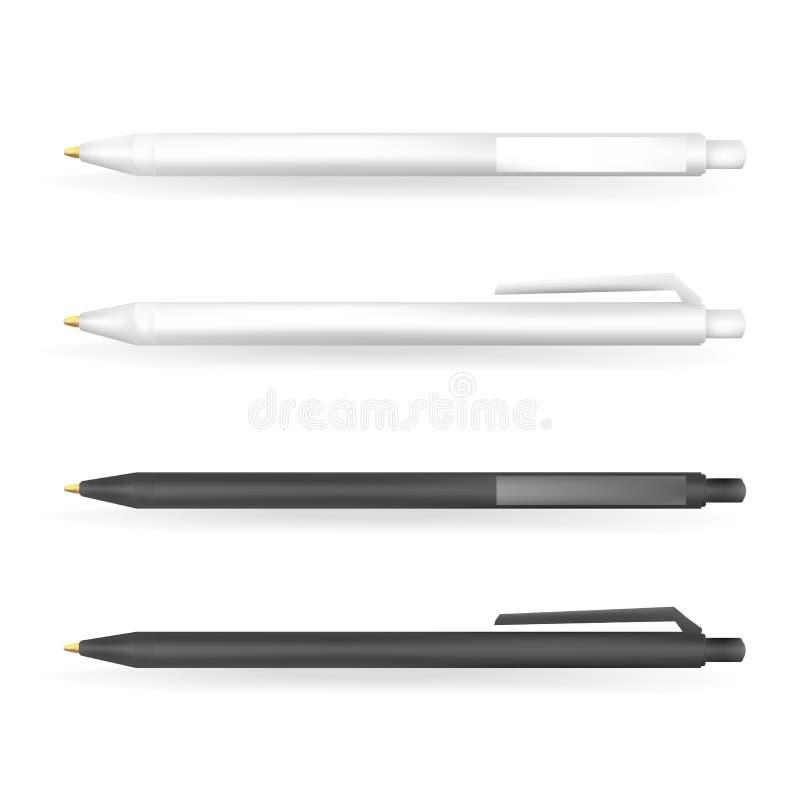 Vectorreeks Lege Witte en Zwarte Pennen royalty-vrije illustratie