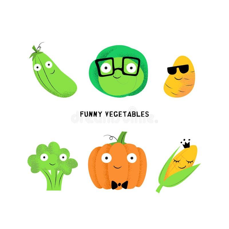 Vectorreeks leuke beeldverhaal plantaardige karakters stock illustratie