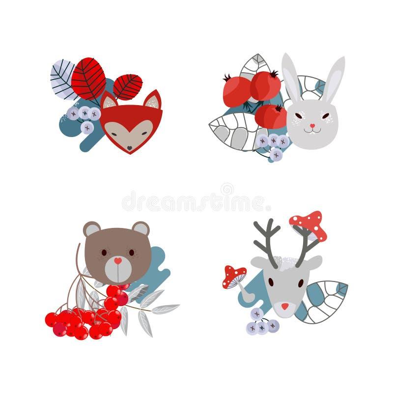 Vectorreeks leuke boselementen - dieren en bomen De herten, dragen, hazen en vos, bomen en paddestoelen royalty-vrije illustratie