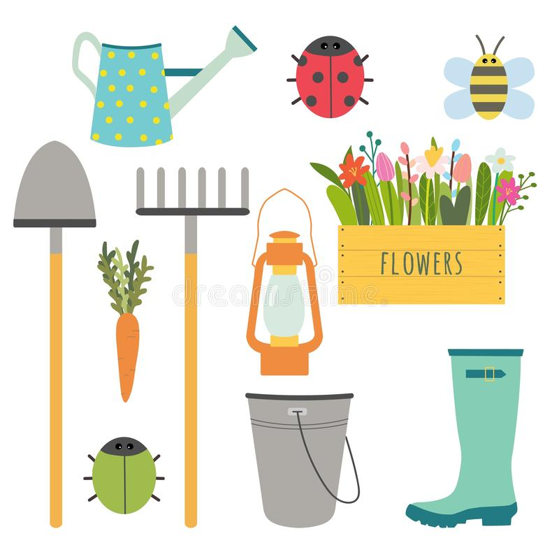 Vectorreeks leuke het tuinieren hulpmiddelen stock illustratie